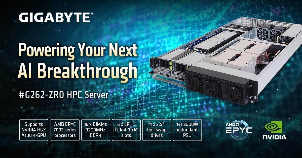 GIGABYTE G262-ZR0 with NVIDIA A100 SXM4 GPU